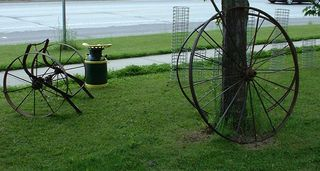 Many Vintage Farm Machinery Wheels in